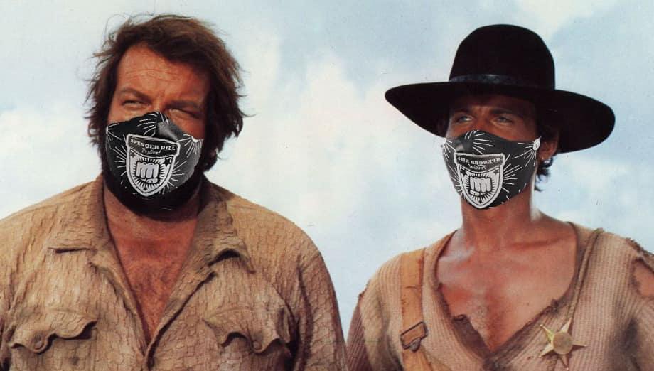 Bud Spencer und Terence Hill tragen Masken