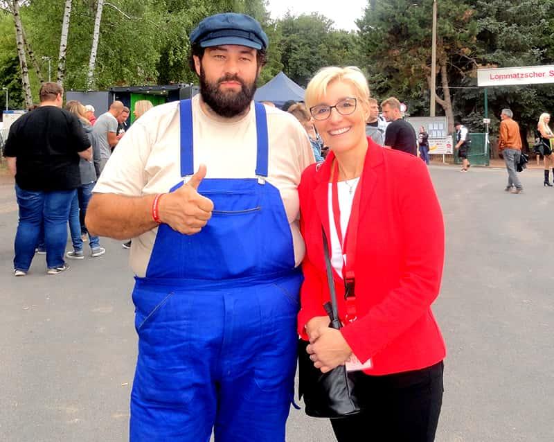 Bud Spencer Double mit Bürgermeisterin von Lommatzsch
