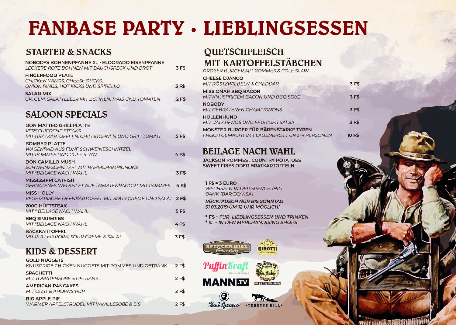 Speisekarte Saloon Fanbase Party